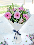 Pink Lily and Gerbera Hand-tied (Congratulations Gift Set)