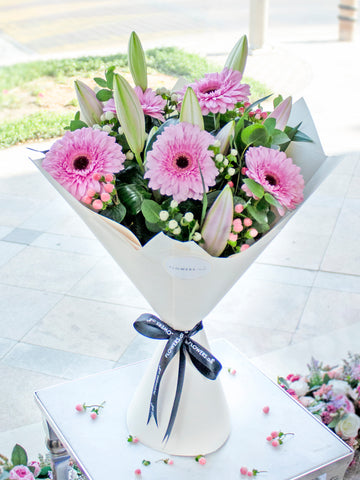 Mother's Day Pink Lily and Gerbera Hand-tied