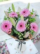 Pink Lily and Gerbera Hand-tied (Free Chocolates with Upgrade)