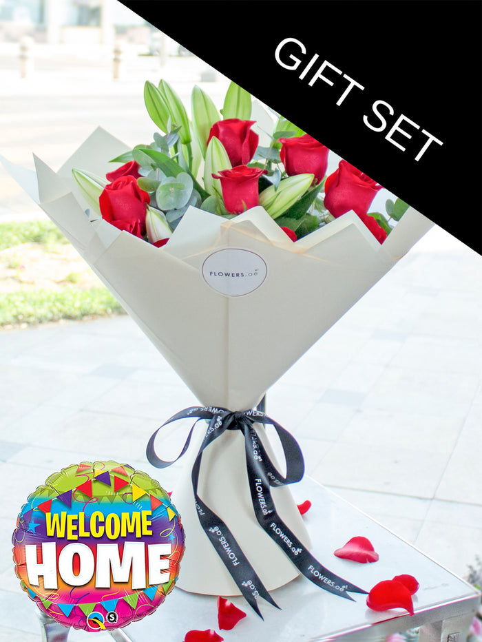 Red Roses and White Lily Hand-tied (Welcome Home Gift Set)