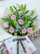 Pink Roses and White Lily Hand-tied