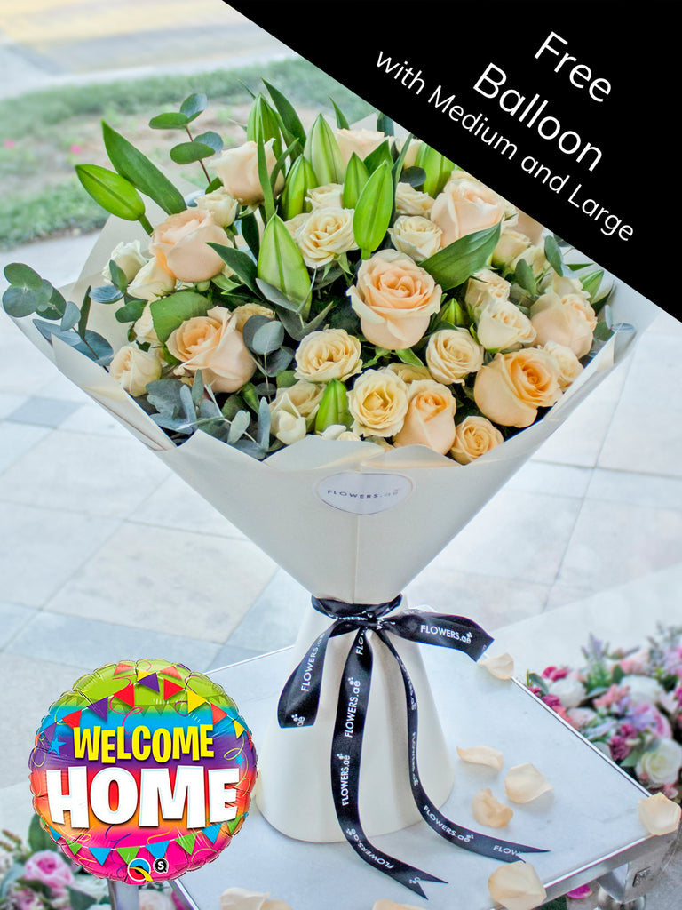Peaches and Pastels Hand-tied (Free Welcome Home Balloon with Upgrade)