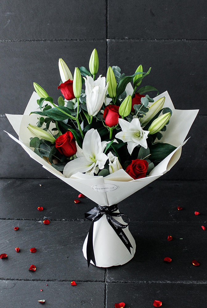 Red Roses and White Lily Hand-tied (Congratulations Gift Set)