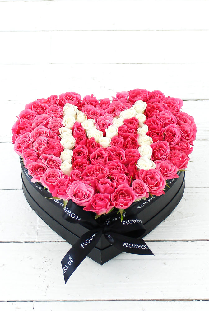Small Pink Letter Heart Box Arrangement A to Z 22 cm width