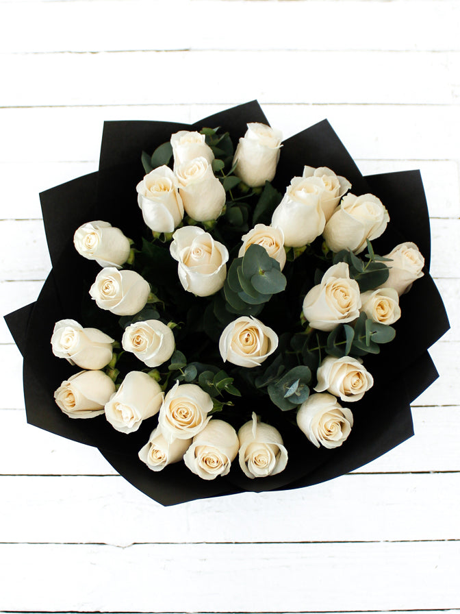 25 Long Stem White Rose Hand-tied