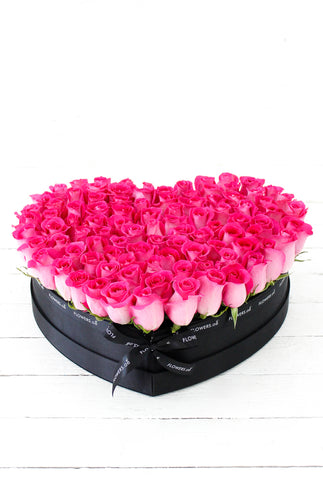 100 Fuschia Pink Rose Large Heart-shaped Box