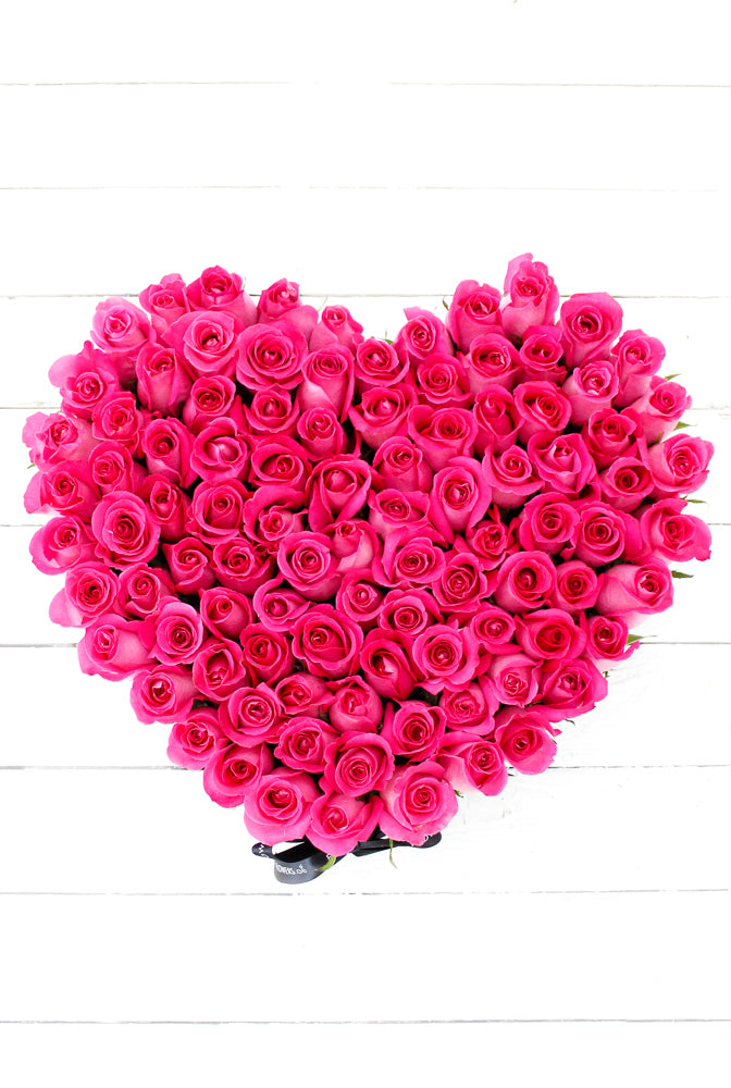 100 Fuschia Pink Roses in a  Large Heart-shaped Box