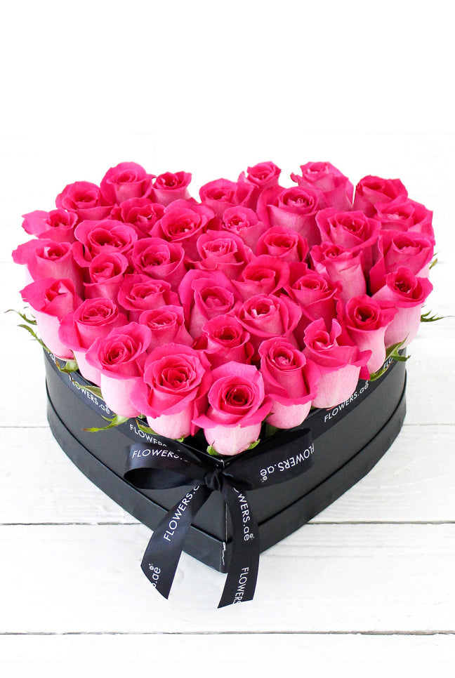 Fuschia Pink Roses in a Heart-shaped Box