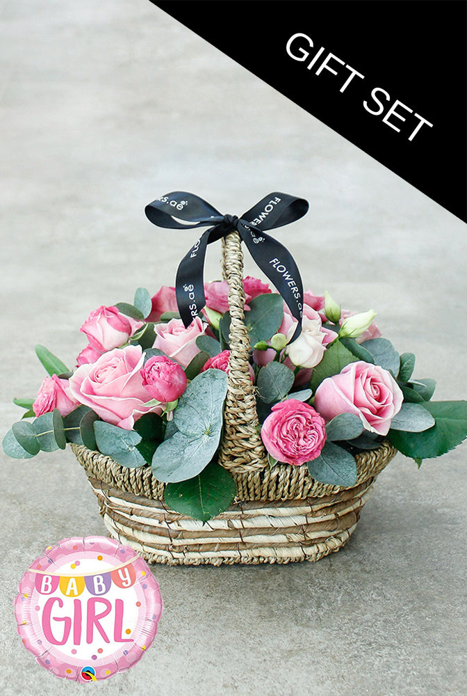 Pink Bundle Basket with Balloon