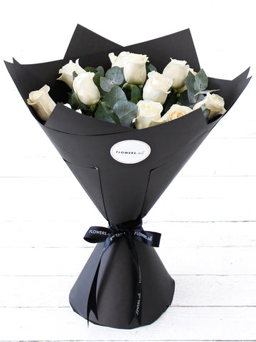 12 Long Stem White Rose Hand-tied