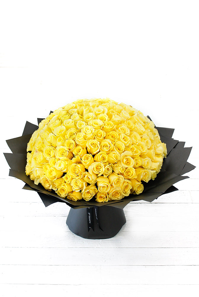 200 Long Stem Yellow Rose Hand-tied (Get Well Soon Gift Set)