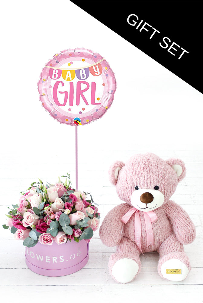 Baby Girl Pink Hatbox with Luxury Teddy and Balloon