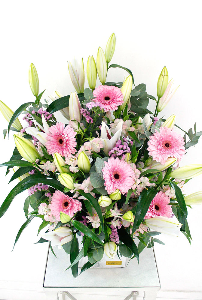 Pink Lily and Gerbera in a Vase (Welcome Home Gift Set)