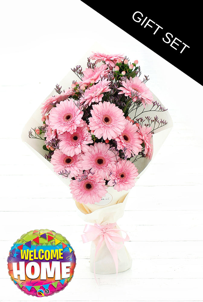 Pink Gerbera Hand-tied (Welcome Home Gift Set)