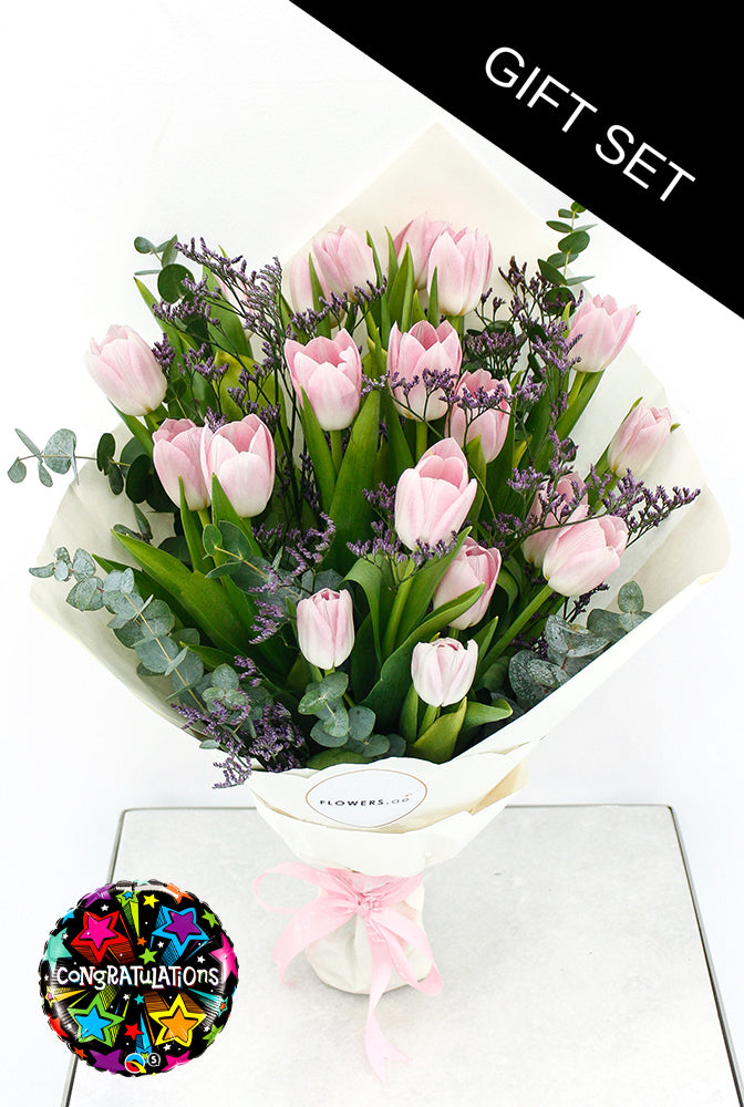 Pink Tulip Hand-tied (Congratulations Gift Set)
