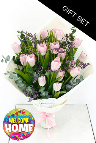 Pink Tulip Hand-tied (Welcome Home Gift Set)
