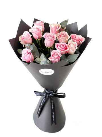 12 Long Stem Pink Rose Hand-tied
