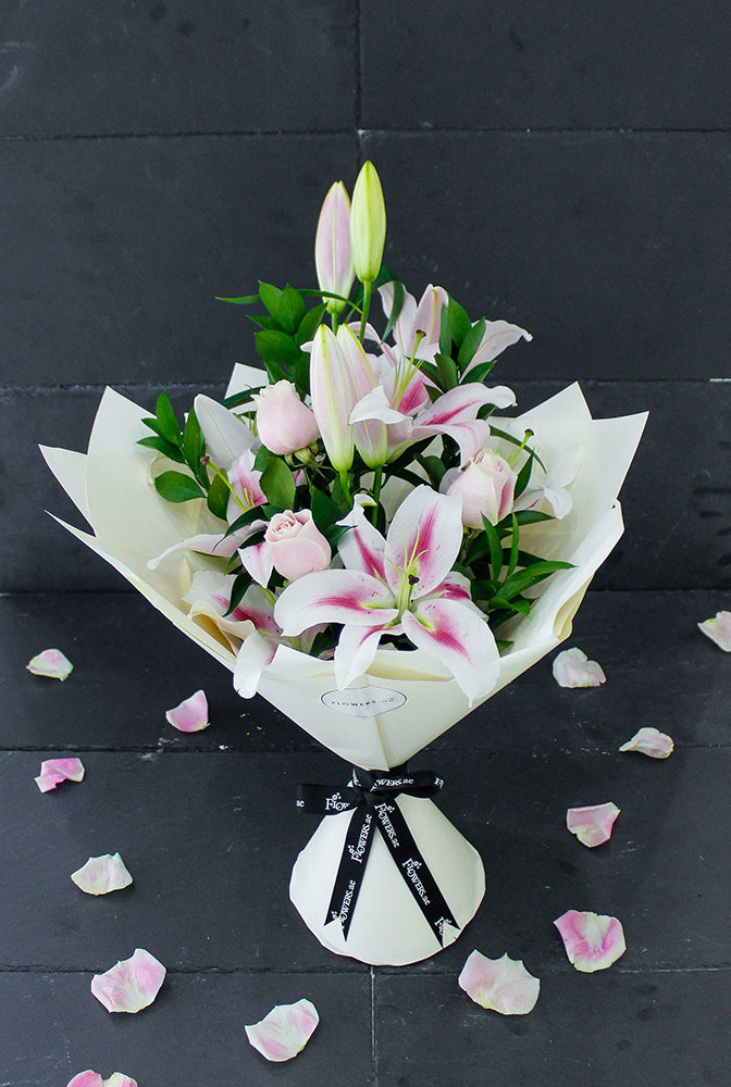 Pink Roses and Pink Lily Hand-tied (Welcome Home Gift Set)