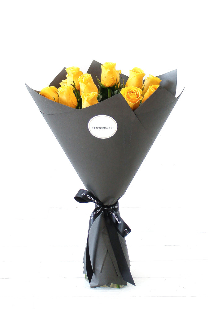 12 Long Stem Yellow Rose Hand-tied (Get Well Soon Gift Set)