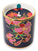 Fuschia Pink Deluxe Hatbox with Fragrant candle in a Ceramic glass