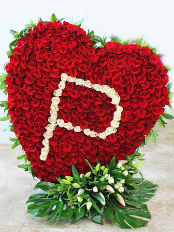 Valentine Standing Heart and Letter Arrangements A to Z