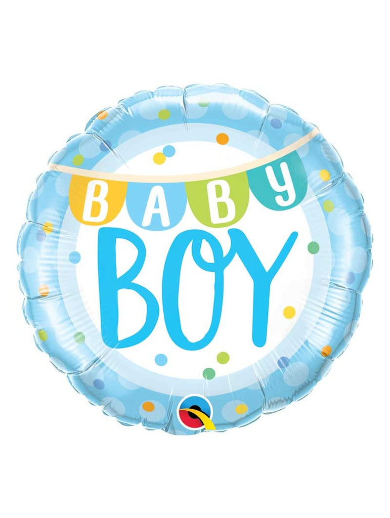 Baby Boy Blue Hatbox with Balloon and Small Teddy