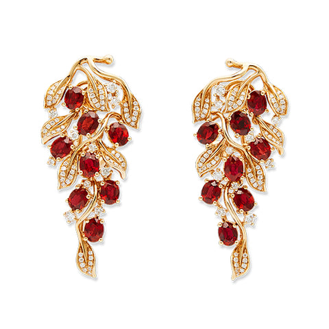 18K gold ruby earrings from Lao Feng Xiang Jewelry