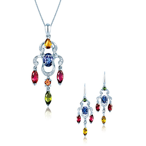 18K gold chandelier tourmaline set from Lao Feng Xiang Jewelry