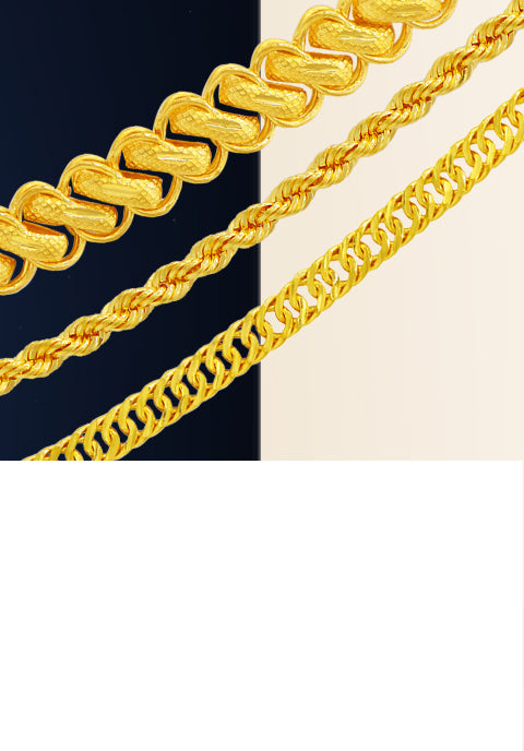 Chain Collection.  24K and 18K Gold Chains and Links