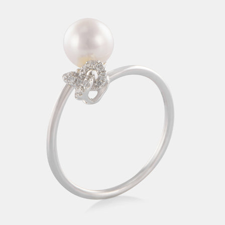 6.5-7MM Akoya Pearl Wrap Knot Ring with 18K White Gold and Diamonds