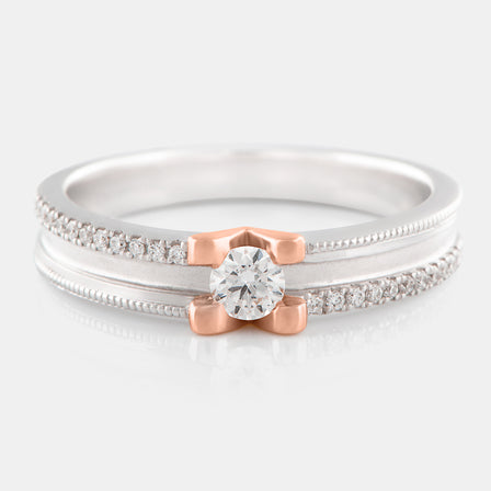 Diamond Milgrain Band with 18K White Gold and Rose Gold