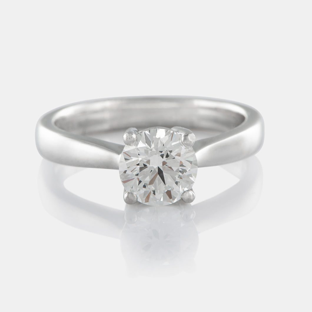 1.08ct Round Brilliant Solitaire Diamond Ring with 18K White Gold