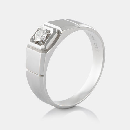 Diamond Signet Band with 18K White Gold