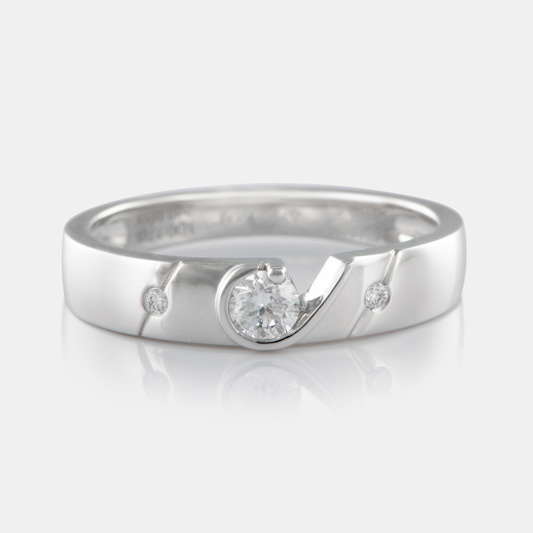 Diamond Cutout Band with 18K White Gold