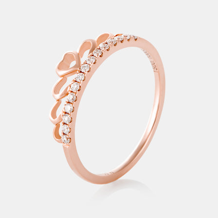 Diamond Crown Ring with 18K Rose Gold