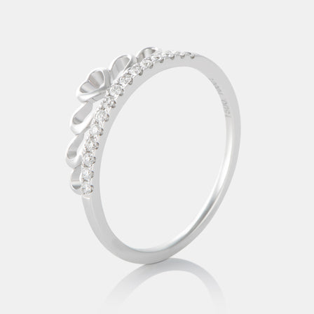 Diamond Crown Ring with 18K White Gold