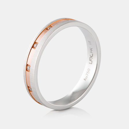 18K Two-Tone Bevel Wedding Band with Diamonds