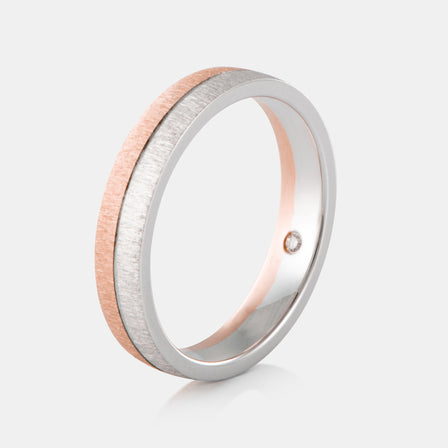 18K Two-Tone Brushed Wedding Band