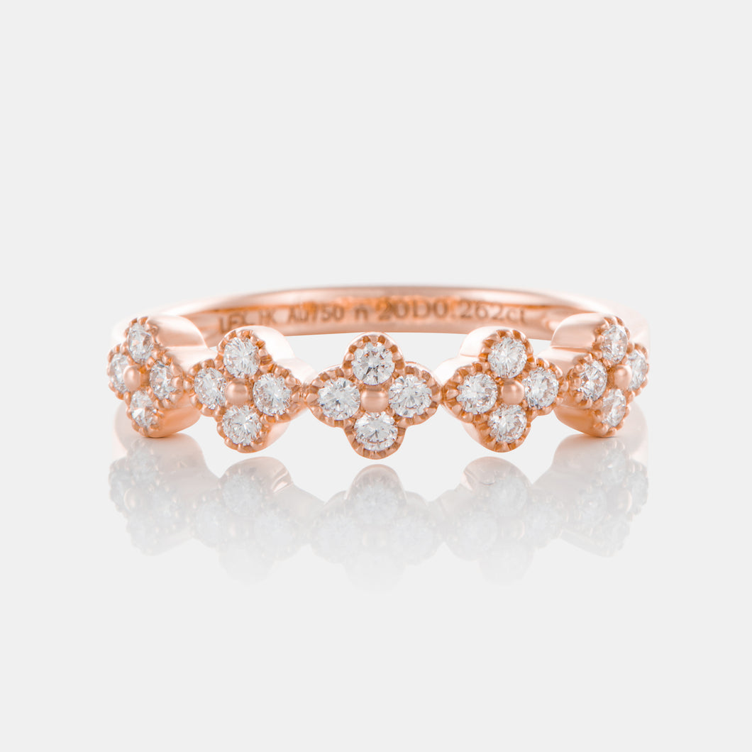 Diamond Clover Ring with 18K Rose Gold