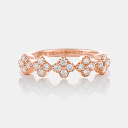 Diamond Clover Band with 18K Rose Gold