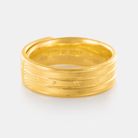 24K Gold 7MM Art Deco Band 12.56g