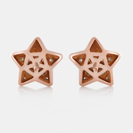 Diamond Star Studs with 18K Rose Gold