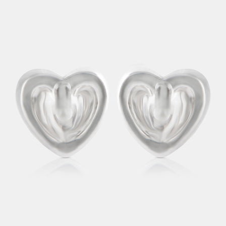 Diamond Heart Stud Earrings with 18K White Gold