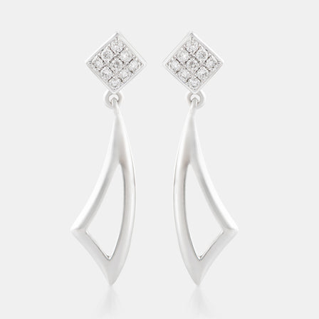 Diamond Cluster Drop Earrings with 18K White Gold