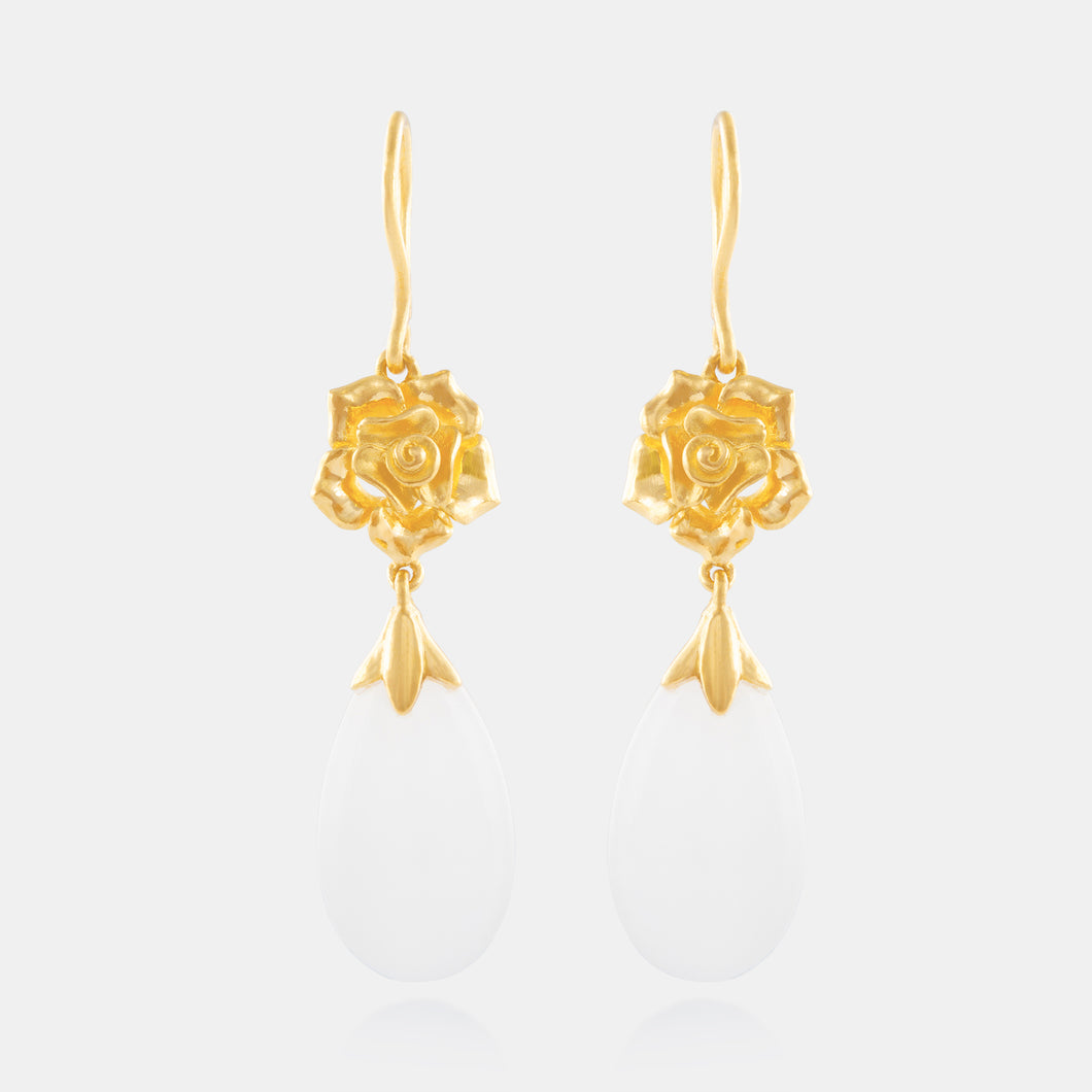 Nephrite Drop Earrings with 24K Gold Peonies