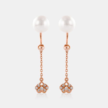 6.5-7mm Akoya Pearl Chain Drop Earrings with 18K Rose Gold and Diamonds