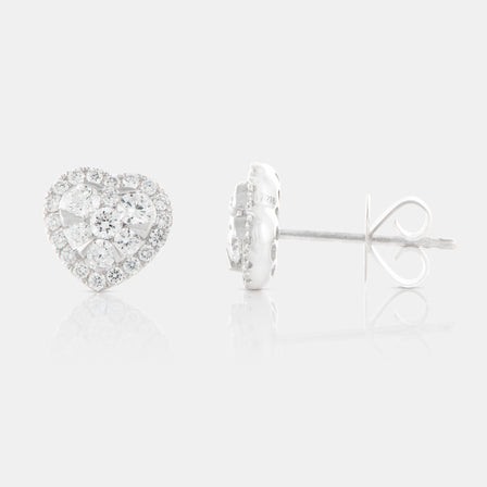 Diamond Cluster Heart Shaped Earrings with 18K White Gold and Halo