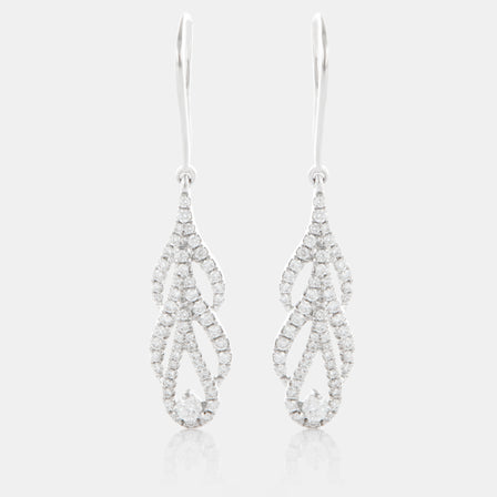 Diamond Phoenix Tail Earrings with 18K White Gold and Diamonds
