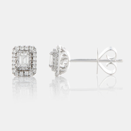 Emerald Cut Diamond Earrings with 18K White Gold and Halo