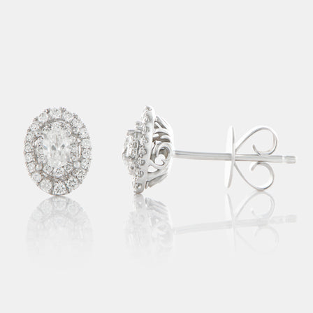 Oval Cut Diamond Halo Earrings with 18K White Gold